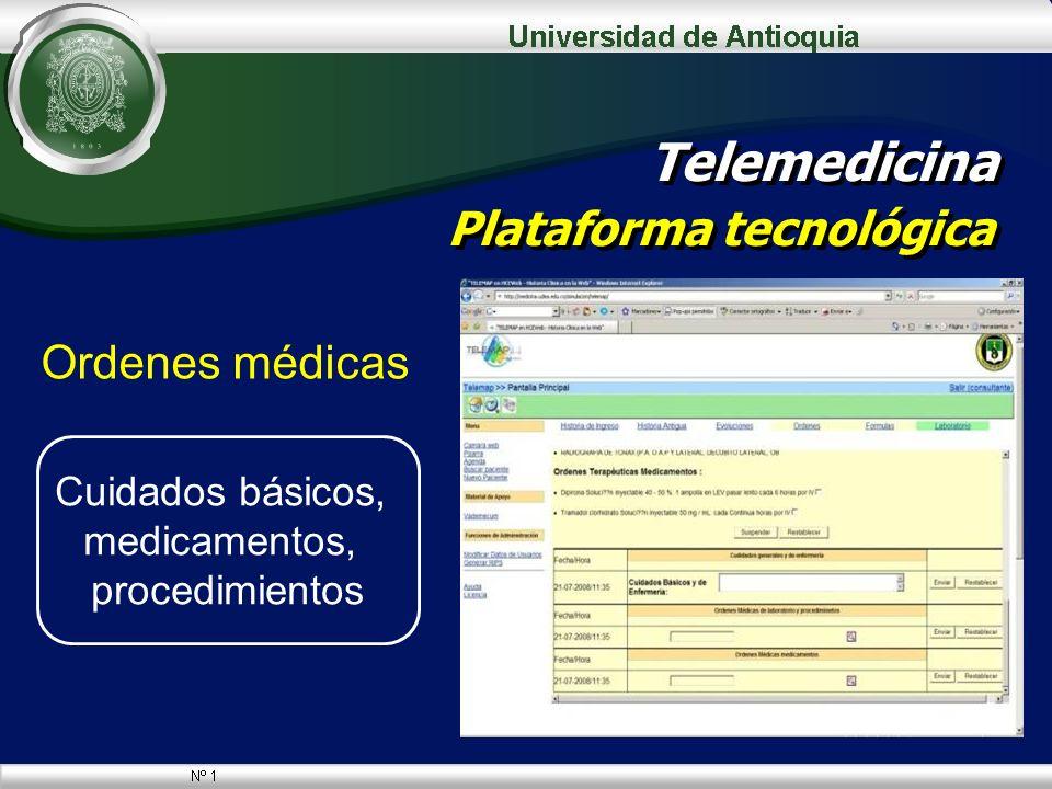 Ordenes médicas Telemedicina Plataforma tecnológica Cuidados básicos, medicamentos, procedimientos