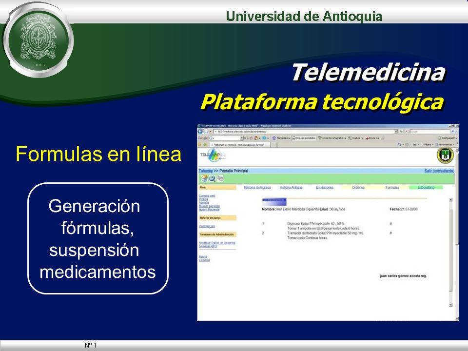Formulas en línea Telemedicina Plataforma tecnológica Generación fórmulas, suspensión medicamentos