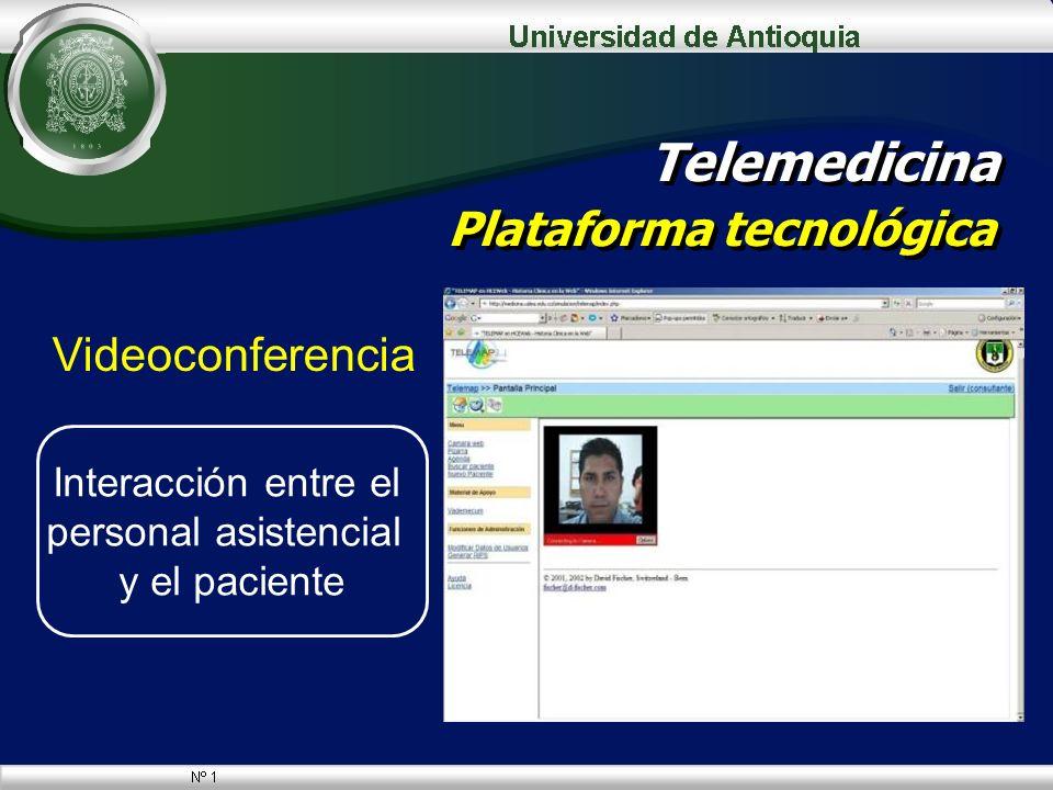 Videoconferencia Telemedicina Plataforma tecnológica Interacción entre el personal asistencial y el paciente