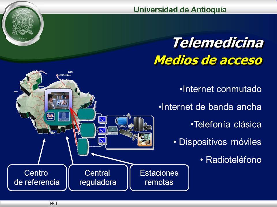 Telemedicina Medios de acceso Internet conmutado Internet de banda ancha Telefonía clásica Dispositivos móviles Radioteléfono Centro de referencia Cen