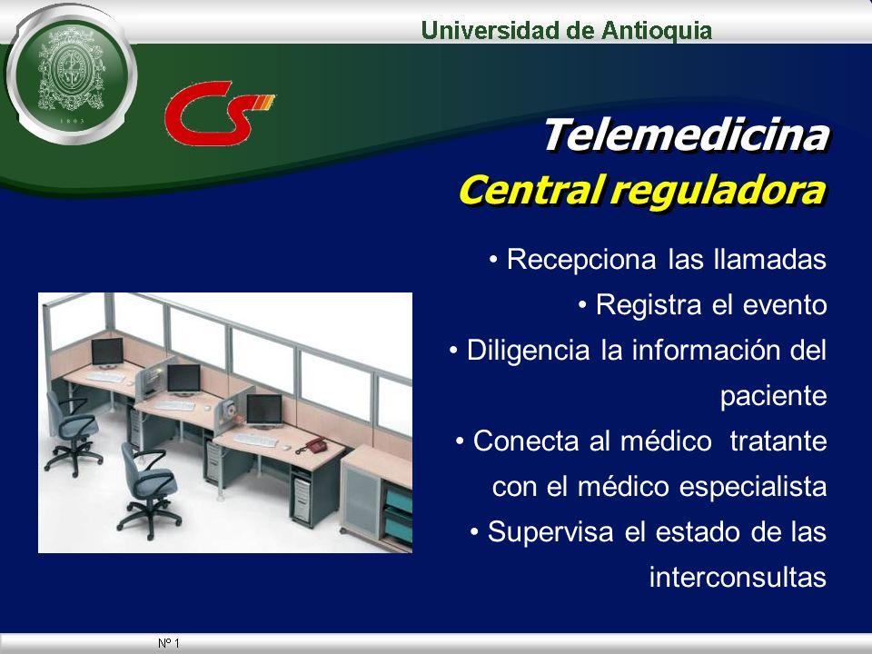 Telemedicina Central reguladora Recepciona las llamadas Registra el evento Diligencia la información del paciente Conecta al médico tratante con el mé
