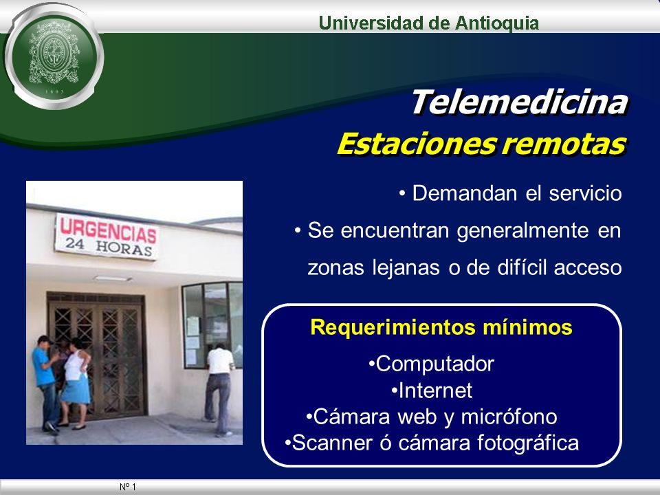 Telemedicina Estaciones remotas Demandan el servicio Se encuentran generalmente en zonas lejanas o de difícil acceso Requerimientos mínimos Computador