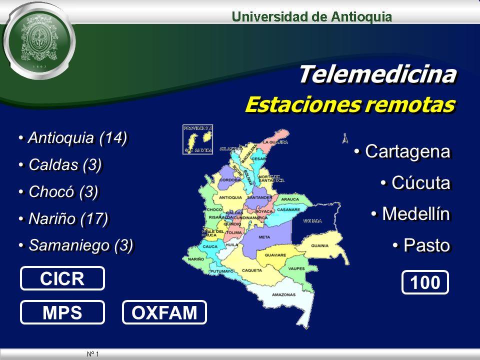 Telemedicina Estaciones remotas Cartagena Cúcuta Medellín Pasto Cartagena Cúcuta Medellín Pasto Antioquia (14) Caldas (3) Chocó (3) Nariño (17) Samani