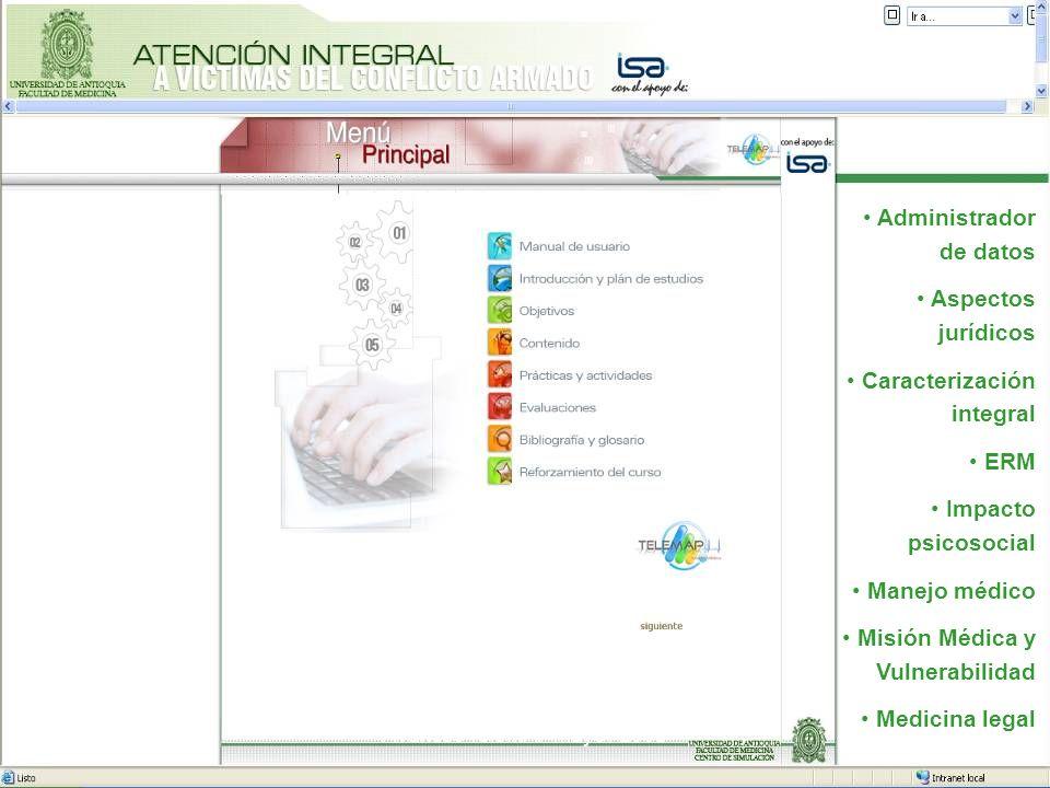 24 Administrador de datos Aspectos jurídicos Caracterización integral ERM Impacto psicosocial Manejo médico Misión Médica y Vulnerabilidad Medicina le