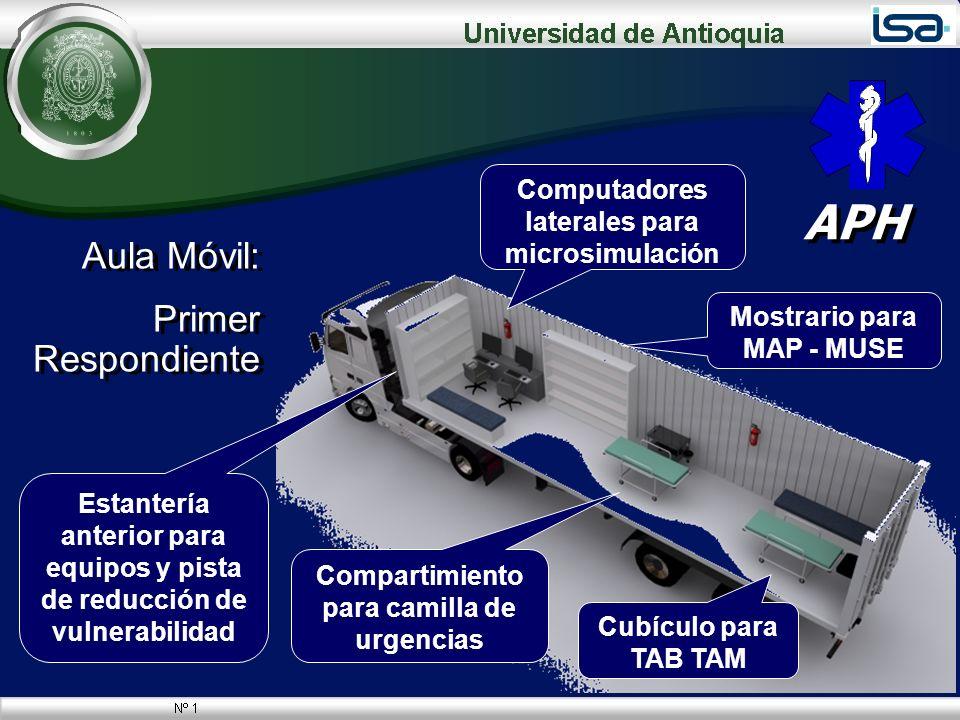 Aula Móvil: Primer Respondiente Aula Móvil: Primer Respondiente 28 APH Compartimiento para camilla de urgencias Cubículo para TAB TAM Estantería anter