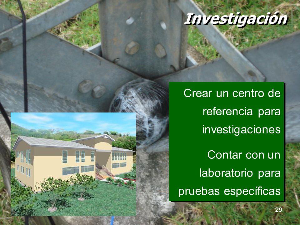 29 Investigación Crear un centro de referencia para investigaciones Contar con un laboratorio para pruebas específicas Crear un centro de referencia p