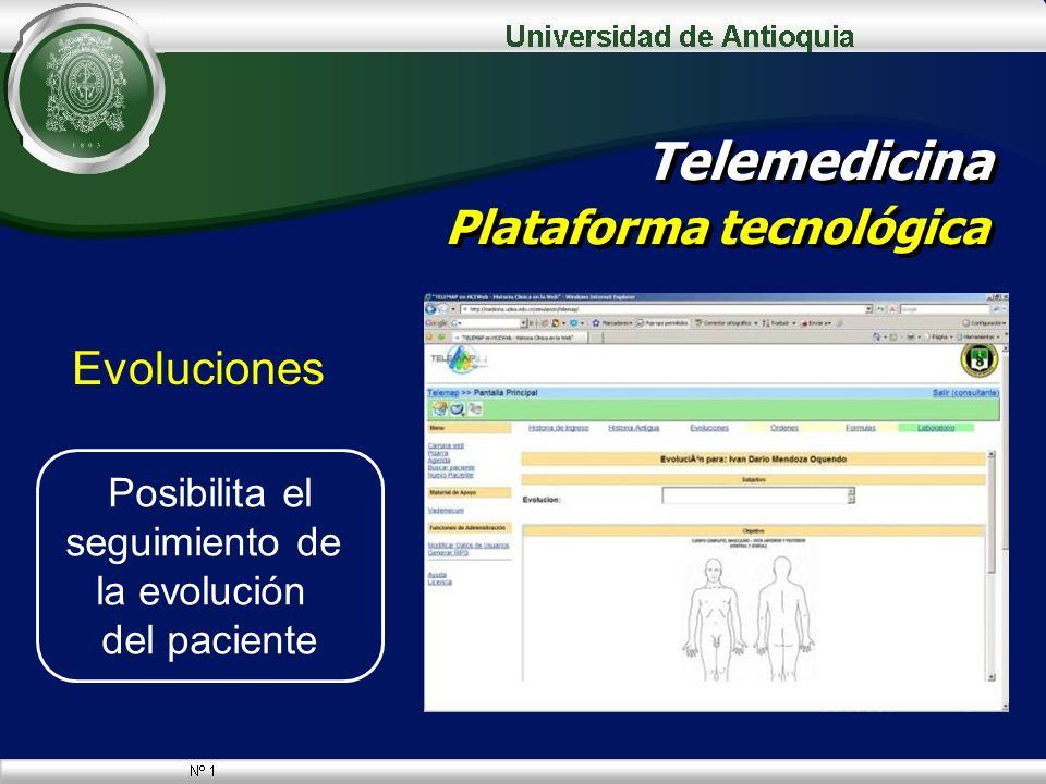 Evoluciones Telemedicina Plataforma tecnológica Posibilita el seguimiento de la evolución del paciente