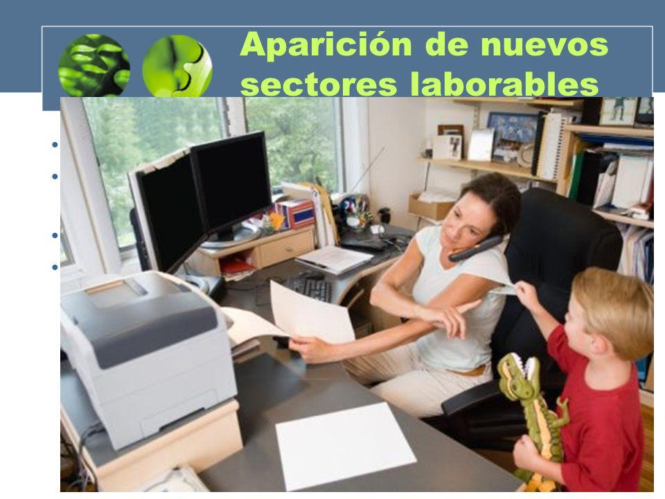Aparición de nuevos sectores laborables Robotización de los procesos industriales. Trabajos relacionados con la informática (web, publicidad), medios