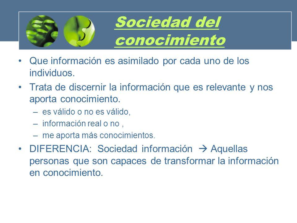 Sociedad del conocimiento Que información es asimilado por cada uno de los individuos. Trata de discernir la información que es relevante y nos aporta