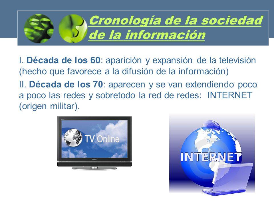 Cronología de la sociedad de la información I. Década de los 60: aparición y expansión de la televisión (hecho que favorece a la difusión de la inform