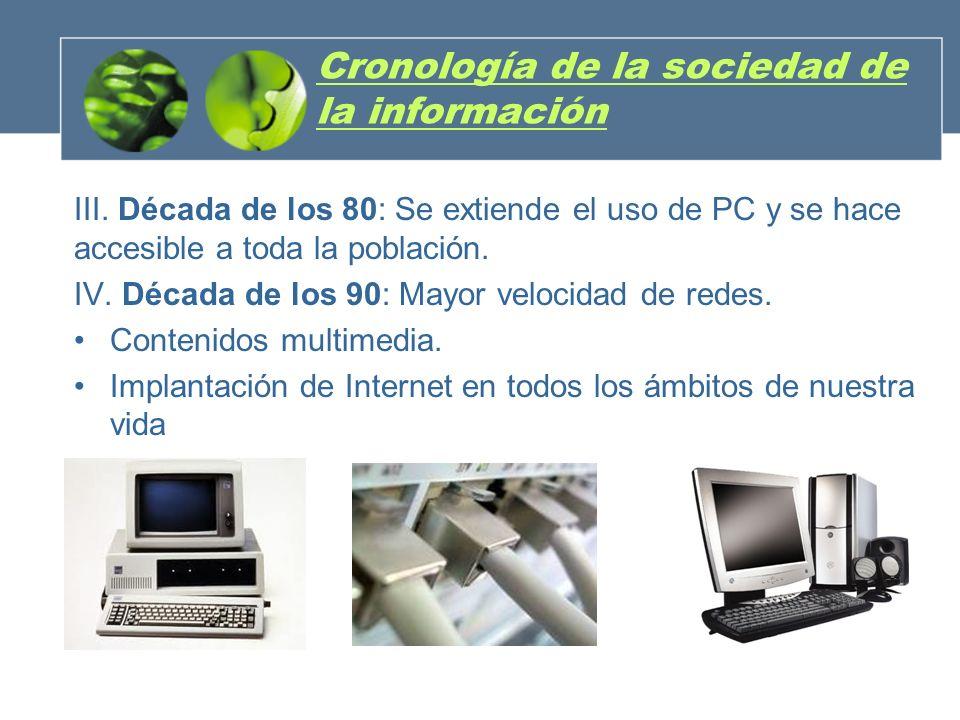 III. Década de los 80: Se extiende el uso de PC y se hace accesible a toda la población. IV. Década de los 90: Mayor velocidad de redes. Contenidos mu