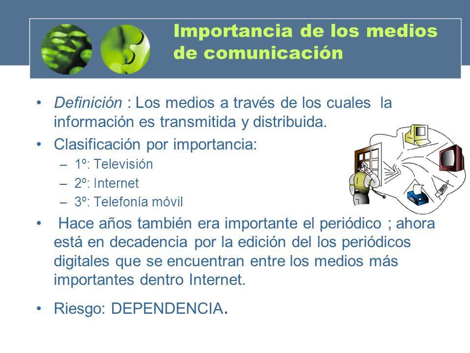 Importancia de los medios de comunicación Definición : Los medios a través de los cuales la información es transmitida y distribuida. Clasificación po