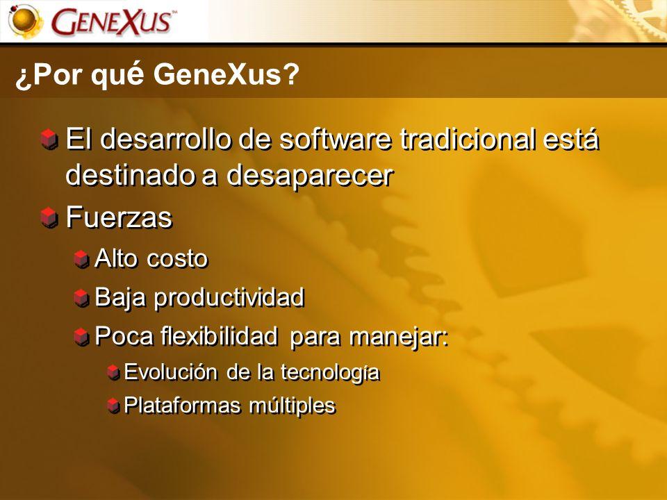 ¿Por qu é GeneXus? El desarrollo de software tradicional está destinado a desaparecer Fuerzas Alto costo Baja productividad Poca flexibilidad para man