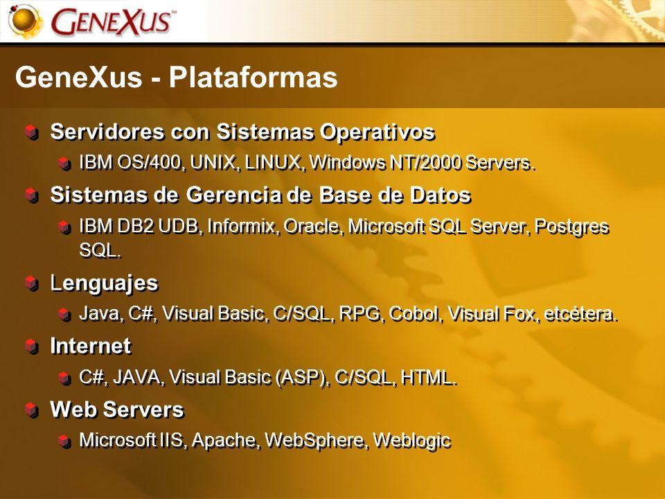 GeneXus - Plataformas Servidores con Sistemas Operativos IBM OS/400, UNIX, LINUX, Windows NT/2000 Servers. Sistemas de Gerencia de Base de Datos IBM D