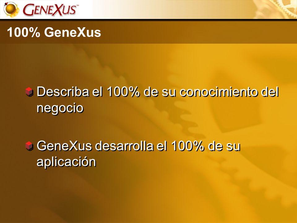 100% GeneXus Describa el 100% de su conocimiento del negocio GeneXus desarrolla el 100% de su aplicación Describa el 100% de su conocimiento del negoc