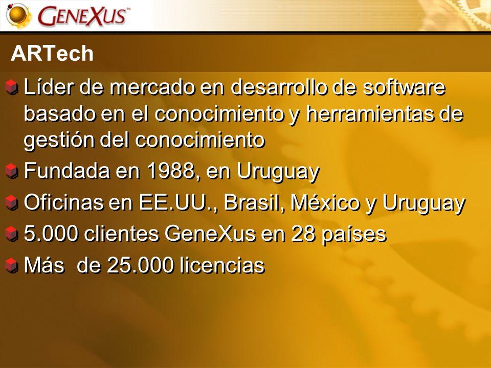 ARTech Líder de mercado en desarrollo de software basado en el conocimiento y herramientas de gestión del conocimiento Fundada en 1988, en Uruguay Ofi