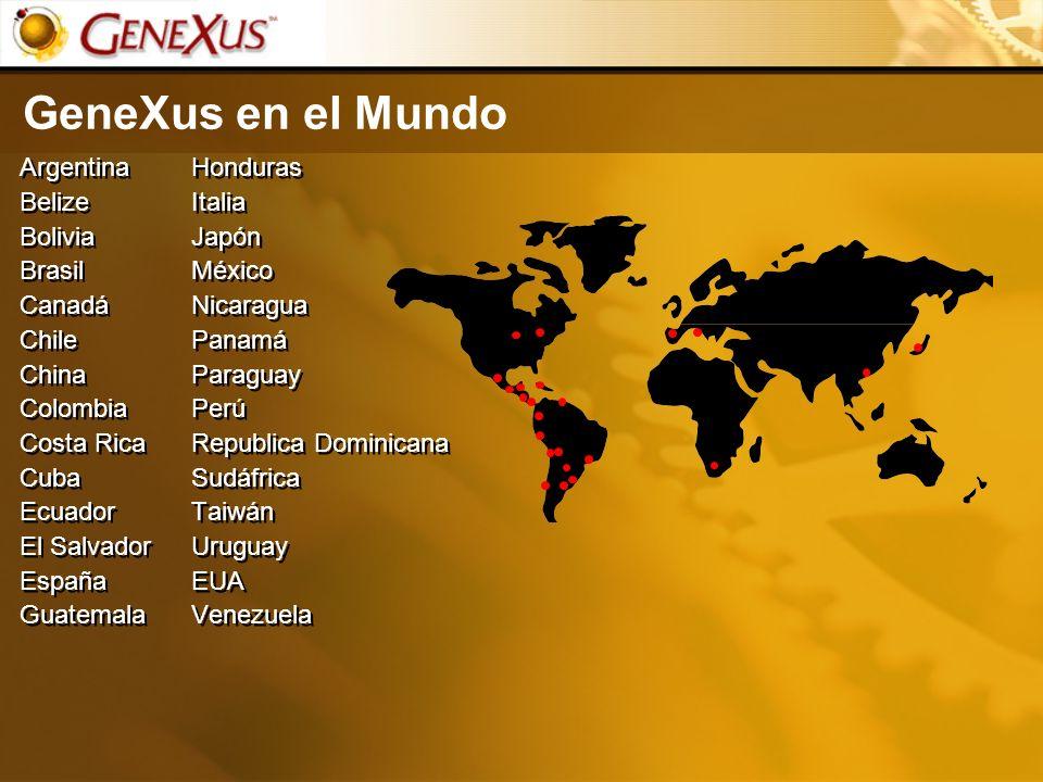 GeneXus en el Mundo Argentina Belize Bolivia Brasil Canadá Chile China Colombia Costa Rica Cuba Ecuador El Salvador España Guatemala Argentina Belize