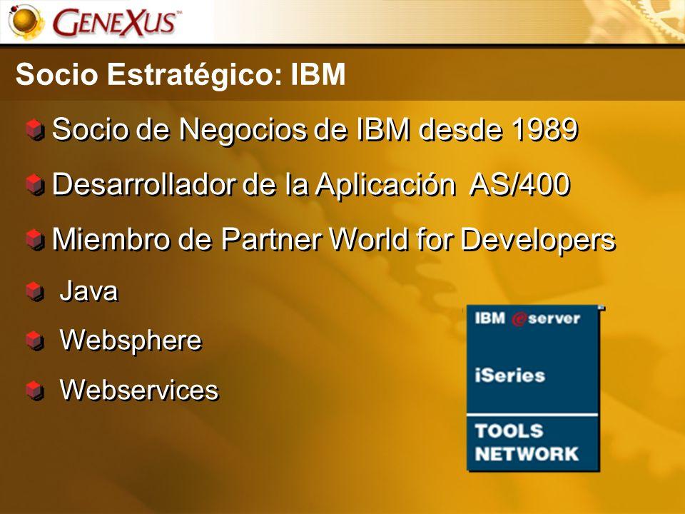 Socio Estratégico: IBM Socio de Negocios de IBM desde 1989 Desarrollador de la Aplicación AS/400 Miembro de Partner World for Developers Java Webspher
