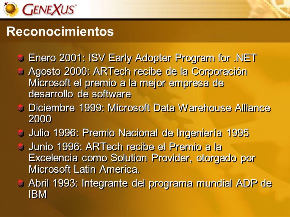 Reconocimientos Enero 2001: ISV Early Adopter Program for.NET Agosto 2000: ARTech recibe de la Corporación Microsoft el premio a la mejor empresa de d