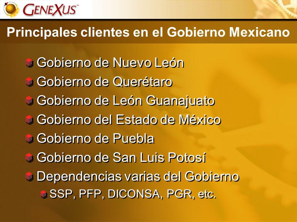 Principales clientes en el Gobierno Mexicano Gobierno de Nuevo León Gobierno de Querétaro Gobierno de León Guanajuato Gobierno del Estado de México Go