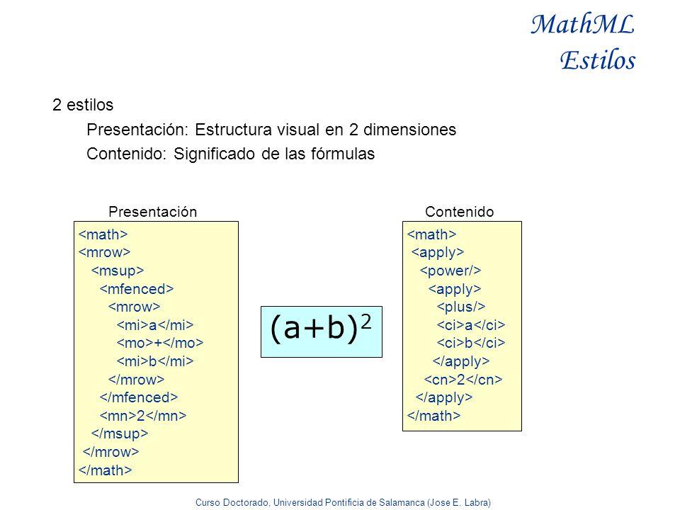 Curso Doctorado, Universidad Pontificia de Salamanca (Jose E. Labra) MathML Estilos 2 estilos Presentación: Estructura visual en 2 dimensiones Conteni