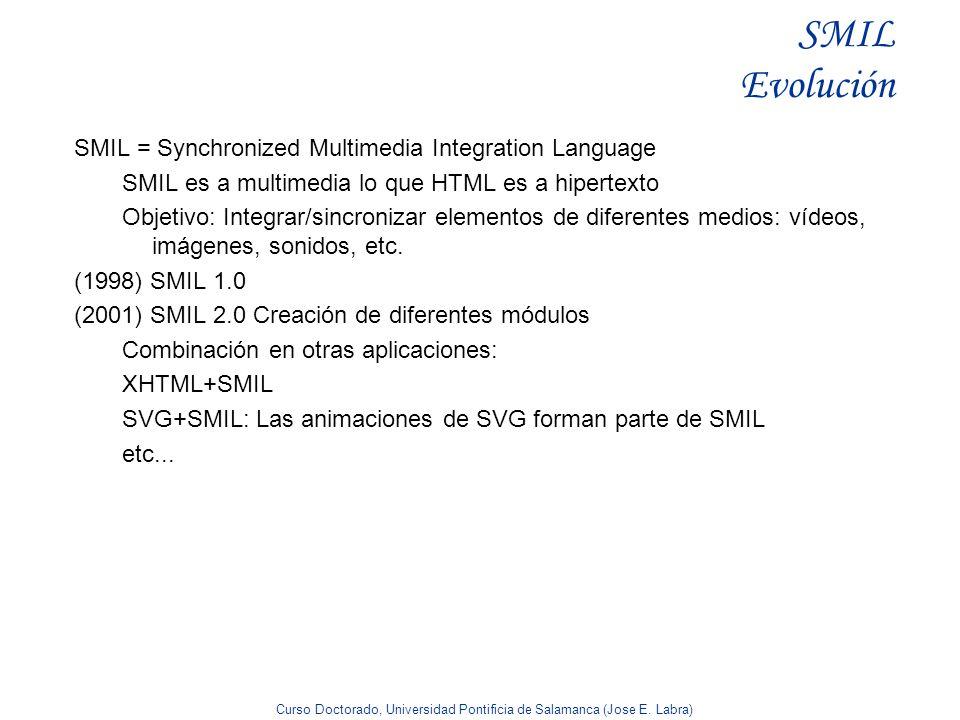 Curso Doctorado, Universidad Pontificia de Salamanca (Jose E. Labra) SMIL Evolución SMIL = Synchronized Multimedia Integration Language SMIL es a mult