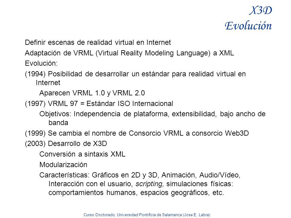 Curso Doctorado, Universidad Pontificia de Salamanca (Jose E. Labra) X3D Evolución Definir escenas de realidad virtual en Internet Adaptación de VRML