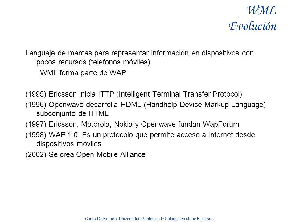 Curso Doctorado, Universidad Pontificia de Salamanca (Jose E. Labra) WML Evolución Lenguaje de marcas para representar información en dispositivos con
