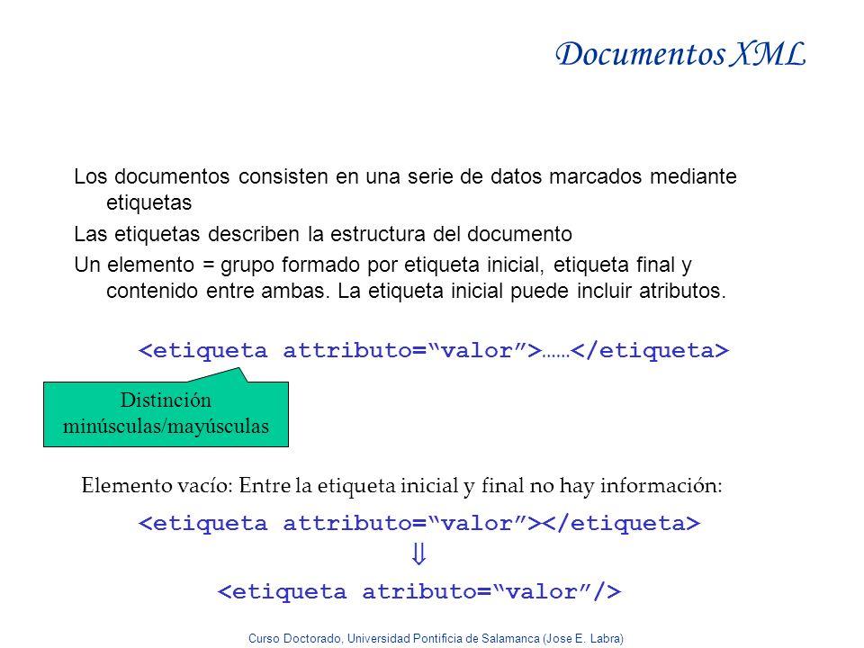 Curso Doctorado, Universidad Pontificia de Salamanca (Jose E. Labra) Documentos XML Los documentos consisten en una serie de datos marcados mediante e