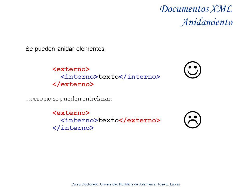 Curso Doctorado, Universidad Pontificia de Salamanca (Jose E. Labra) Documentos XML Anidamiento Se pueden anidar elementos texto...pero no se pueden e