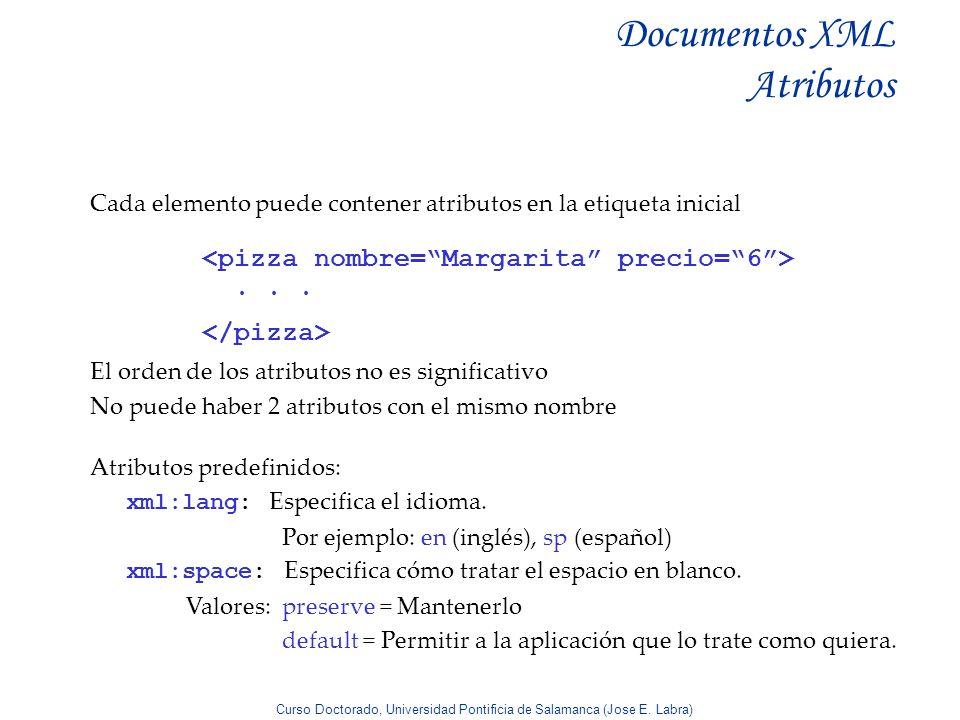 Curso Doctorado, Universidad Pontificia de Salamanca (Jose E. Labra) Documentos XML Atributos Cada elemento puede contener atributos en la etiqueta in