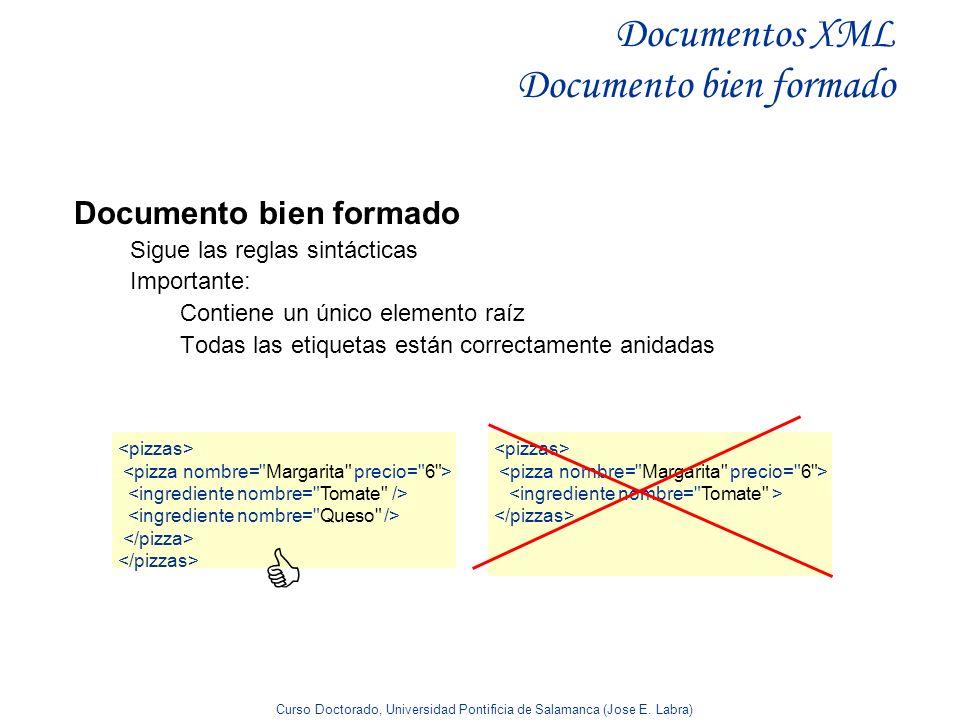 Curso Doctorado, Universidad Pontificia de Salamanca (Jose E. Labra) Documentos XML Documento bien formado Documento bien formado Sigue las reglas sin