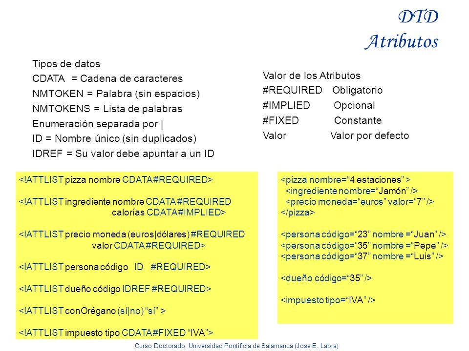 Curso Doctorado, Universidad Pontificia de Salamanca (Jose E. Labra) DTD Atributos Valor de los Atributos #REQUIRED Obligatorio #IMPLIED Opcional #FIX