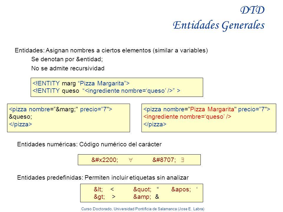 Curso Doctorado, Universidad Pontificia de Salamanca (Jose E. Labra) DTD Entidades Generales Entidades: Asignan nombres a ciertos elementos (similar a