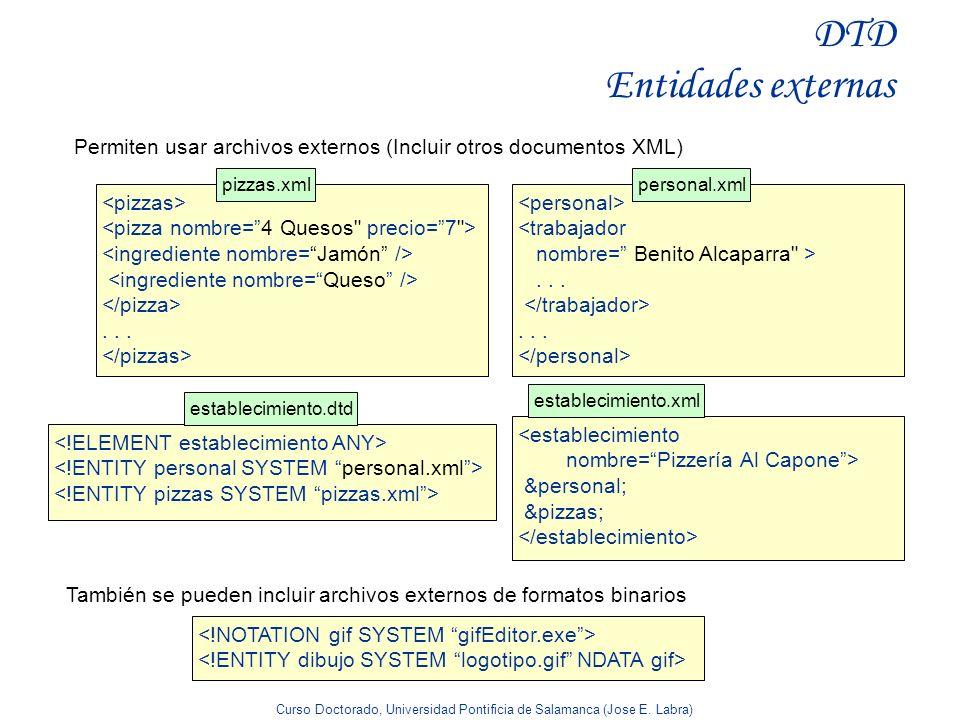Curso Doctorado, Universidad Pontificia de Salamanca (Jose E. Labra) DTD Entidades externas Permiten usar archivos externos (Incluir otros documentos