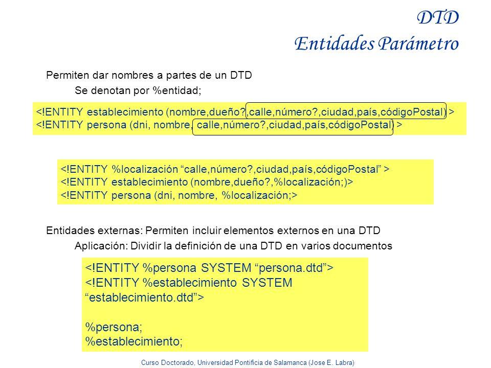 Curso Doctorado, Universidad Pontificia de Salamanca (Jose E. Labra) DTD Entidades Parámetro Permiten dar nombres a partes de un DTD Se denotan por %e