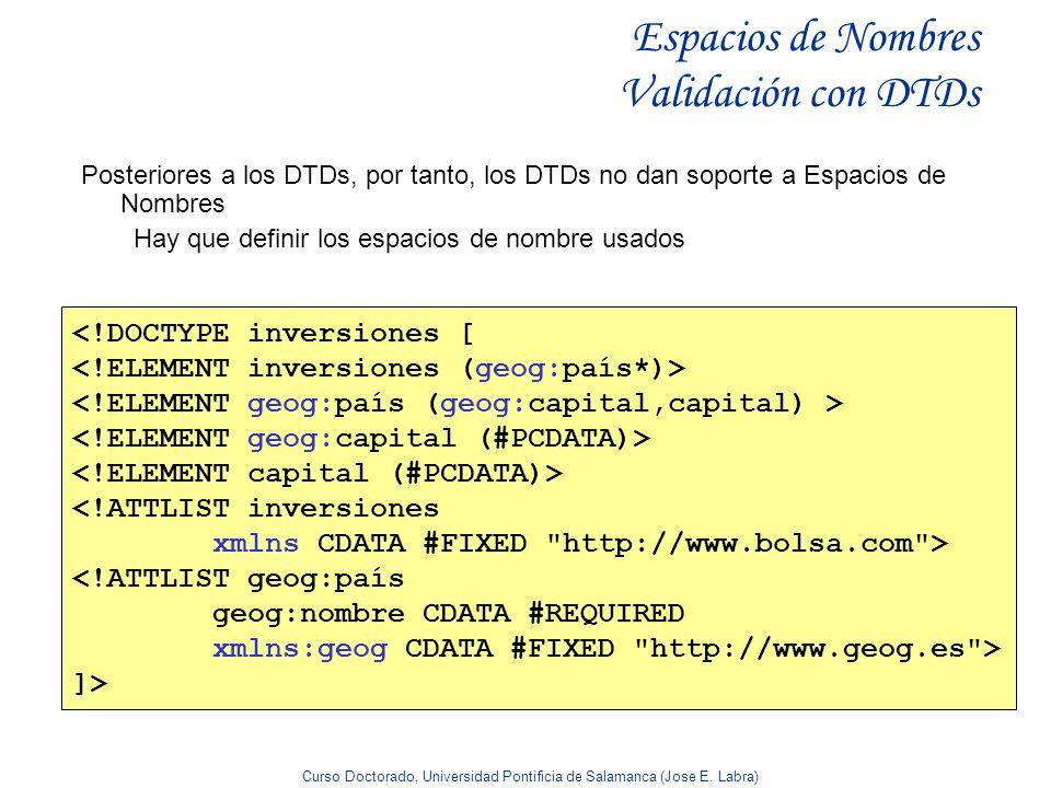 Curso Doctorado, Universidad Pontificia de Salamanca (Jose E. Labra) Espacios de Nombres Validación con DTDs Posteriores a los DTDs, por tanto, los DT