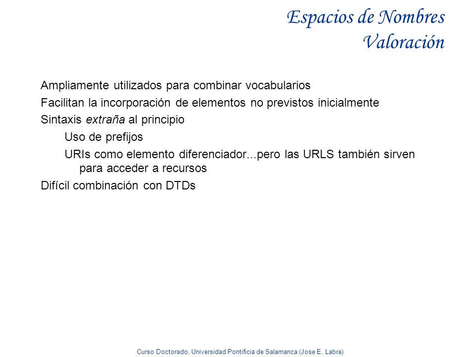 Curso Doctorado, Universidad Pontificia de Salamanca (Jose E. Labra) Espacios de Nombres Valoración Ampliamente utilizados para combinar vocabularios