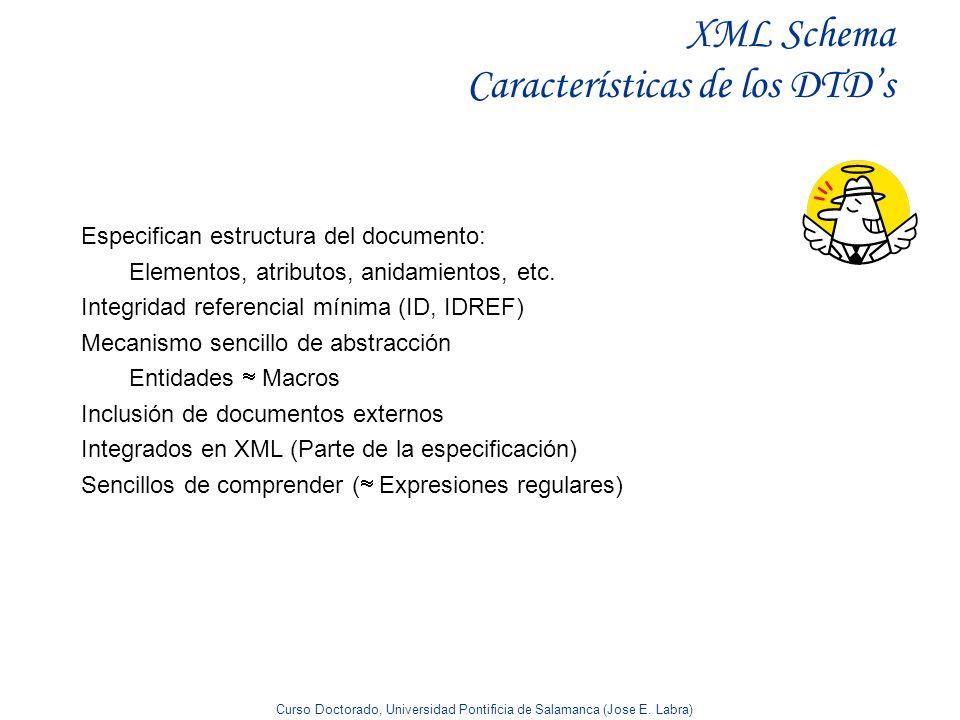 Curso Doctorado, Universidad Pontificia de Salamanca (Jose E. Labra) XML Schema Características de los DTDs Especifican estructura del documento: Elem