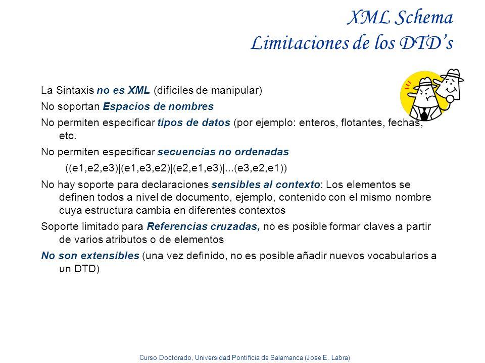 Curso Doctorado, Universidad Pontificia de Salamanca (Jose E. Labra) XML Schema Limitaciones de los DTDs La Sintaxis no es XML (difíciles de manipular