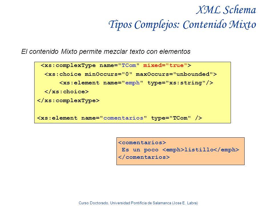 Curso Doctorado, Universidad Pontificia de Salamanca (Jose E. Labra) XML Schema Tipos Complejos: Contenido Mixto El contenido Mixto permite mezclar te