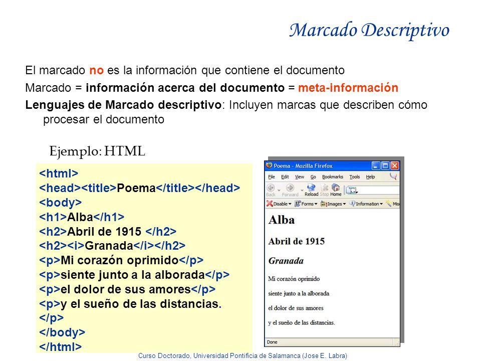 Curso Doctorado, Universidad Pontificia de Salamanca (Jose E. Labra) Marcado Descriptivo El marcado no es la información que contiene el documento Mar