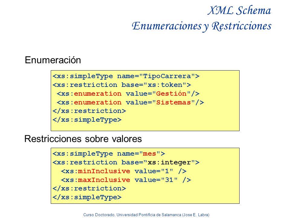 Curso Doctorado, Universidad Pontificia de Salamanca (Jose E. Labra) XML Schema Enumeraciones y Restricciones Enumeración Restricciones sobre valores