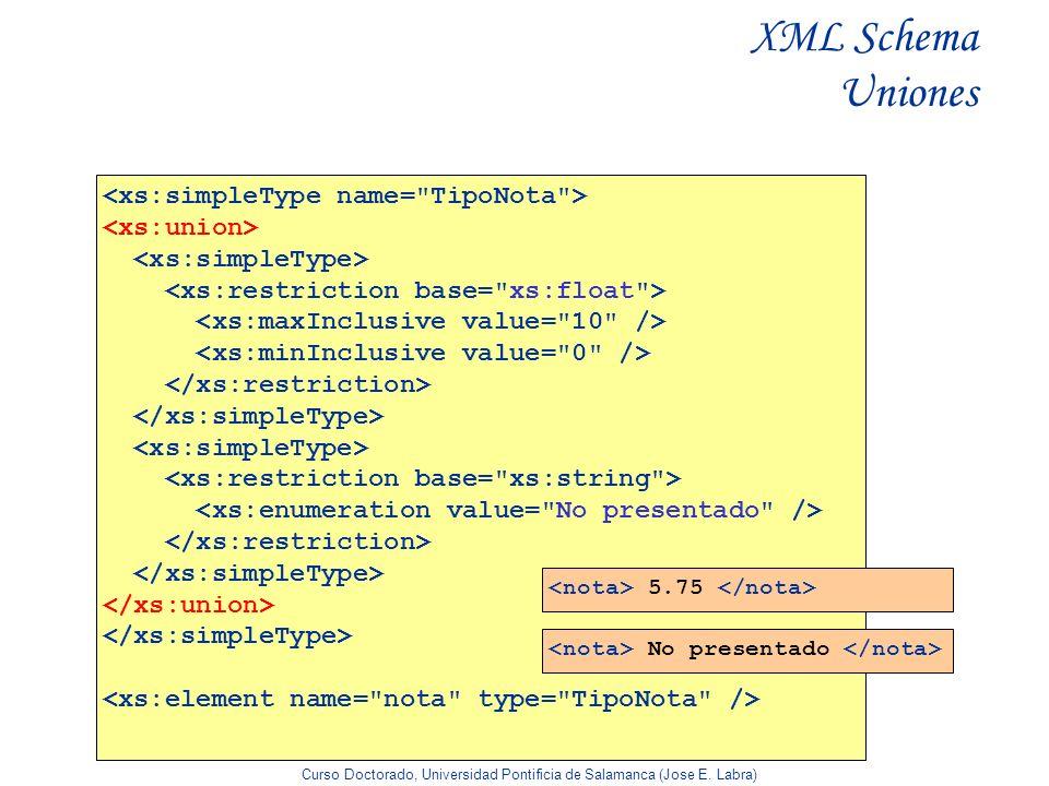Curso Doctorado, Universidad Pontificia de Salamanca (Jose E. Labra) XML Schema Uniones 5.75 No presentado