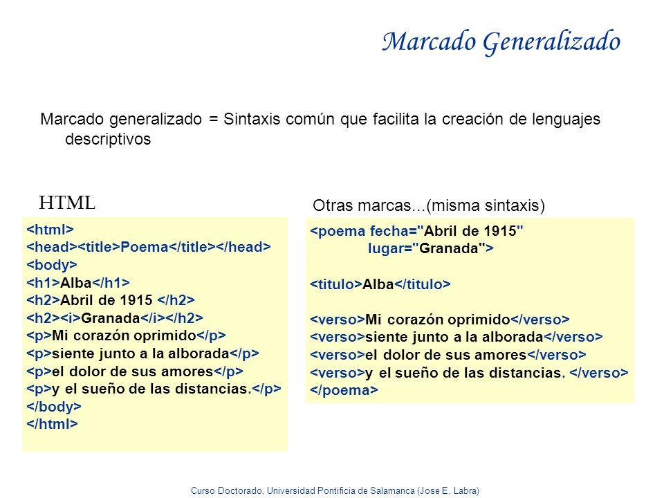 Curso Doctorado, Universidad Pontificia de Salamanca (Jose E. Labra) Marcado Generalizado Marcado generalizado = Sintaxis común que facilita la creaci