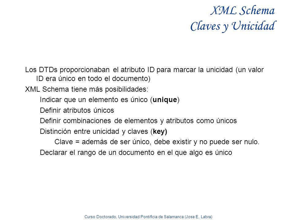 Curso Doctorado, Universidad Pontificia de Salamanca (Jose E. Labra) XML Schema Claves y Unicidad Los DTDs proporcionaban el atributo ID para marcar l