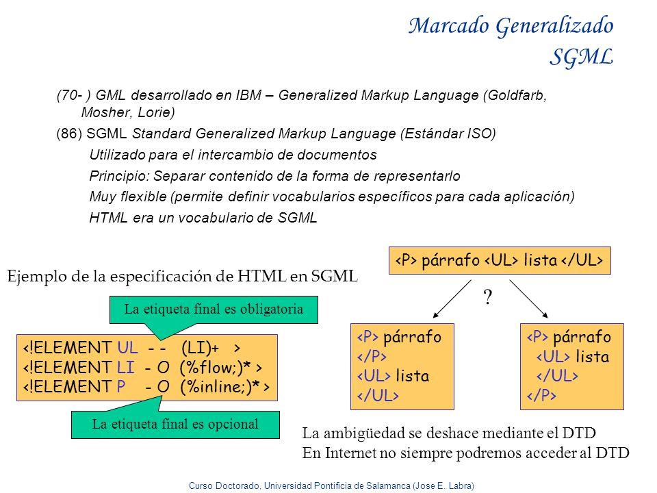 Curso Doctorado, Universidad Pontificia de Salamanca (Jose E. Labra) Marcado Generalizado SGML (70- ) GML desarrollado en IBM – Generalized Markup Lan