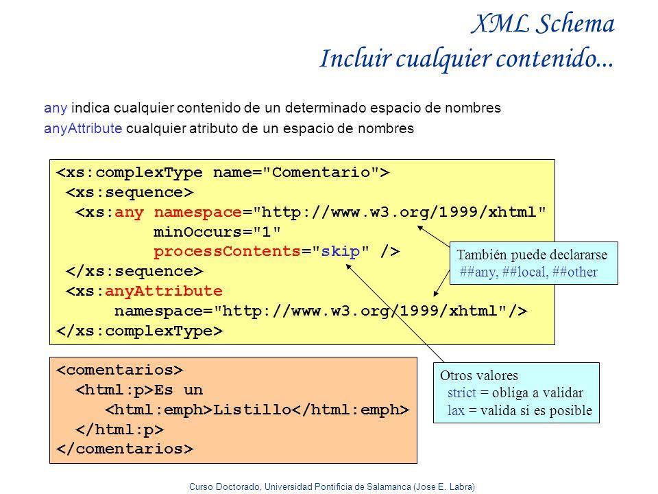 Curso Doctorado, Universidad Pontificia de Salamanca (Jose E. Labra) XML Schema Incluir cualquier contenido... any indica cualquier contenido de un de