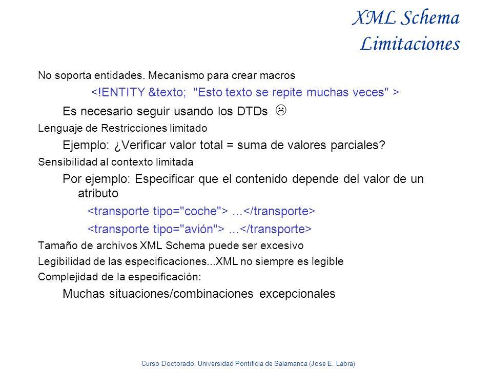 Curso Doctorado, Universidad Pontificia de Salamanca (Jose E. Labra) XML Schema Limitaciones No soporta entidades. Mecanismo para crear macros Es nece