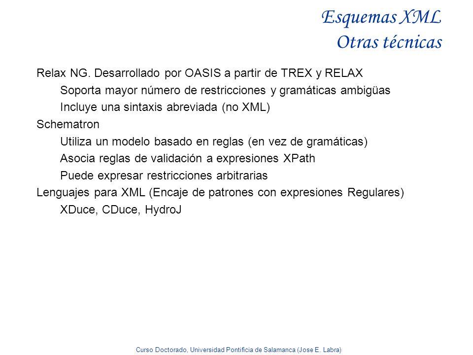 Curso Doctorado, Universidad Pontificia de Salamanca (Jose E. Labra) Esquemas XML Otras técnicas Relax NG. Desarrollado por OASIS a partir de TREX y R